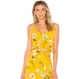 NWT L'Academie The Salta Top in Yellow Floral